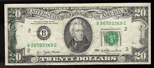 1977 $20 Error Note, FRN Partial Green Ink Wet Transfer