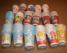 VTG Paper Cup Lot Care Bears Ziggy Strawberry Shortcake 17 Packs Clown Christmas
