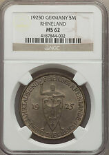 Rare 1925 D Germany Silver 5 marks-1000 years Rhineland/Medieval Knight NGC MS62