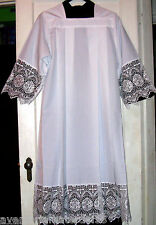 White Alb Square Neck Priest Clothing Rochet Latin Vestment Lace Size:  LARGE