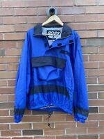 Vintage 90s BOSS Blue 1/4 Zip Pullover Anorak Windbreaker Jacket Sz Large