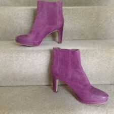 ecco Mauve Suede & Leather Elasticated Rib Ankle Boots High Heel Platform UK7 40