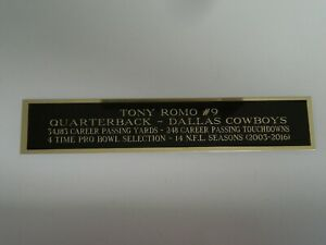 Tony Romo Cowboys Autograph Nameplate for a Football Jersey Display Case 1.25X6