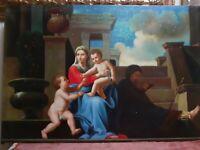 Quadro capezzale madonna Dipinto a Mano Olio Su Tela  classico 60x90 con telaio