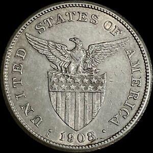 PHILIPPINES. 1 Peso, 1908, Silver - Insular Government