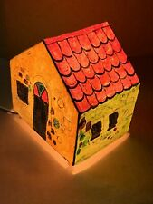 """Original Painting on Paper House Shape Table Lamp 8""""X6""""X8"""" Cuban Art by LISA"""