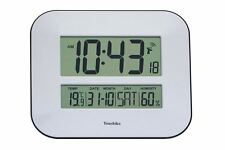 Jumbo LCD Radio Controlled Wall Clock With Temperature and Humidity Display UK