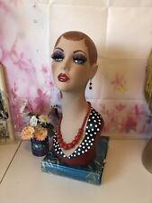 Vintage Style hand painted  PVC mannequin head.Signed  and marked.