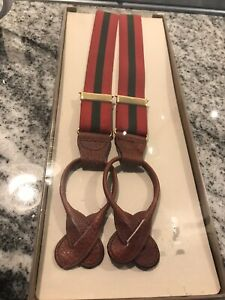 NIB Trafalgar Suspenders Braces Red With Green Stripe New Deadstock Button Gift