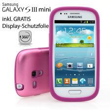 Galaxy S3 Mini i8190 Tasche Aluminium Case Schutz Hülle Back Cover Alu Rosa pink