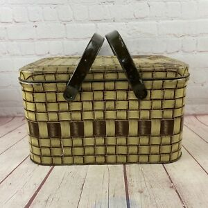 Vintage Tan Metal Basket Weave Look Picnic Basket With Metal Handles