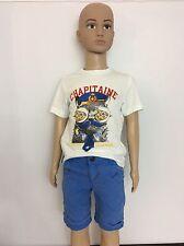 Catimini Boys Outfit, Set, T Shirt & Shorts Size Age 3, 98cm, Blue & White Vgc