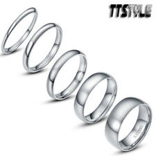 TTstyle Mirror Finished S.Steel Wedding Comfort Band Ring 2-8mm Width Size 2-13