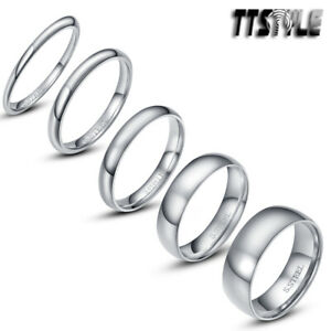 TTstyle Mirror Finished S.Steel Wedding Comfort Band Ring 2-8mm Width Size 2-15