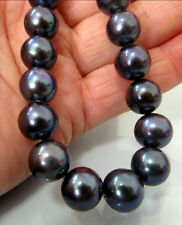 """NEW18""""   10-11MM TAHITIAN NATURAL BLACK PEARL NECKLACE PERFECT ROUND"""