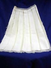 LAVIANIATURRA IVORY NETTING COTTON PANELED SKIRT SEE THROUGH SIZE 40 ITALY