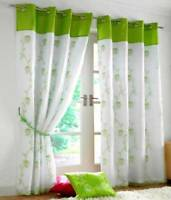 TAHITI LIME GREEN LINED VOILE RING TOP EYELET CURTAINS ~ Many Sizes