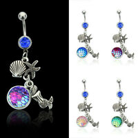 Mermaid Scale Gem Belly Ring Surgical Steel Navel Belly Button Bar Body Piercing