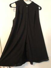 EUC! Cute Korean Black Chiffon A-Line Sleeveless Tunic Shirt Dress Size S