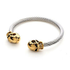 Stainless Steel Twisted Cable Cuff Twin Skull Bangle Mens Womens Bracelet + Box