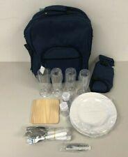 Picnic Bag Rucksack For Four Blue  NEW #2      HG43