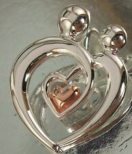 925 STERLING SILVER MOTHER and CHILD LOVE HEART PENDANT with some 14KGP