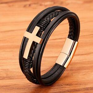 Cross Men Bracelet Multi-Layer Stainless Steel Leather Bangles Magnetic Clasp Je