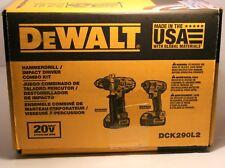 DEWALT DCK290L2 20-Volt Hammer Drill and Impact Driver Combo Kit New!