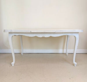 VINTAGE FRENCH LOUIS XV STYLE DRAWER LEAF DINING TABLE