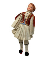 Antique Greek Guard Doll Traditional Costume Paper Mache Head Cloth Body 11""