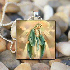 THE VIRGIN MARY Mother of Jesus Christ Religious Glass Tile Pendant Necklace!