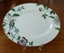 """LENOX AERIN COTTAGE TERRACE OVAL SERVING PLATTER 16"""" TRAY FLORAL BIRDS NEW"""