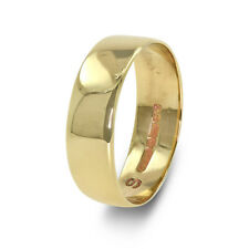 9ct Wedding Band Ring Yellow Gold - 6mm Wide - Size R1/2 - Sizable - 00565