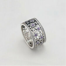 Authentic190991ACZ Pandora Forget Me Not Purple & Clear S925 Ring