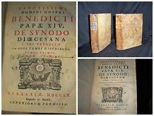 Sanctissimi Domini Nostri Benedicti Papae XIV De Synodo Diocesana Tomo 1-2. 1760