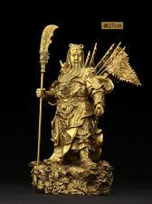"""10"""",China Feng shui brass Guan Gong Yu Warrior God wealth Copper God Statue folk"""