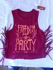Women's Juniors Beet Red Freedom Fringe Tank Top Size Large NEW
