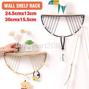 Wall Mounted Shelf Retro Wooden Hook Up Metal Wire Rack Storage Display Rack