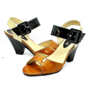 Tan / Black Patent Medium Chunky Heel Sandals