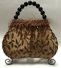 Brown Fabric Leaves Purse Beaded Fringe Table Desk Lamp Decorative Nightlight