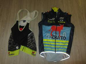 2 Lot Red Burro Racing DNA Cycling Squdra Bib Shorts Jersey Bike Suit L XL Pro