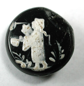 """Antique Glass Buttons with Enamel Asian Man Scene - 5/8"""""""