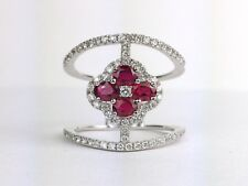 18K White Gold Red Ruby Round Diamond Right Hand Cocktail Flower Ring 1.33 carat