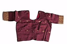 BROWN VINTAGE SAREE BLOUSE INDIAN WOMEN TOP TUNIC SILK USED CHOLI,TOP, FESTIVE