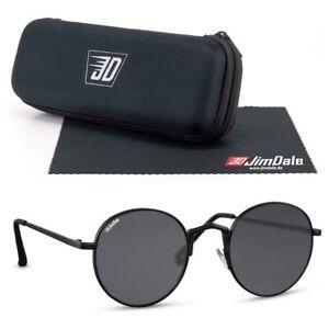 Jim Dale Nickel Sonnenbrille Rund Metall Matt Schwarz UV400 Markenbrille Herren