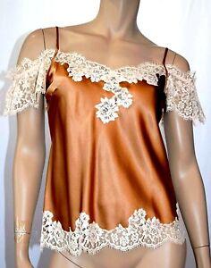 / Marjolaine Camisole 100% Silk, Dentelle Calais S/FR38/EU36/UK10 Brown'