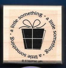 A LITTLE SOMETHING Present CENTER POST SEAL Stampin' Up! Gift Tag RUBBER STAMP