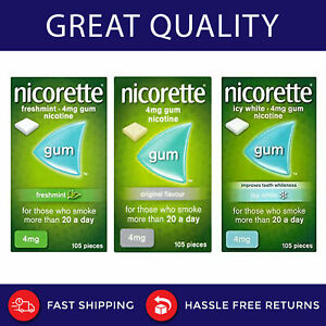 Nicorette Gum All Flavour 105 and 210 Pieces 2mg and 4mg. Free Delivery (uk)