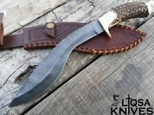 CUSTOM MADE DAMASCUS STEEL KUKRI STAG ANTLER HANDLE & COWHIDE LEATHER SHEATH