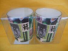 """KERZEN! 2-er Set asiatische Teelicht-Gläser """"BUDDHA"""" in Box, je 6,5x5,5cm! NEU!"""